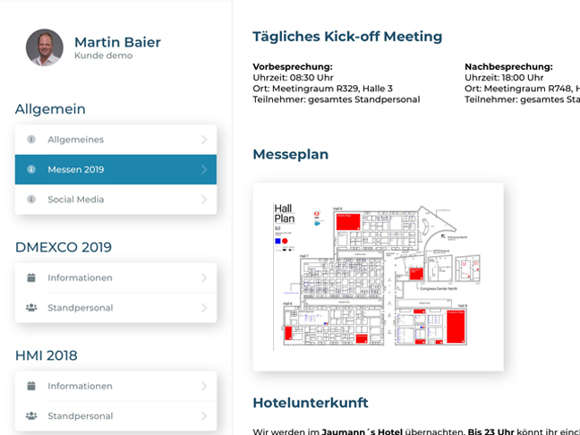 Screenshot App Messebriefing