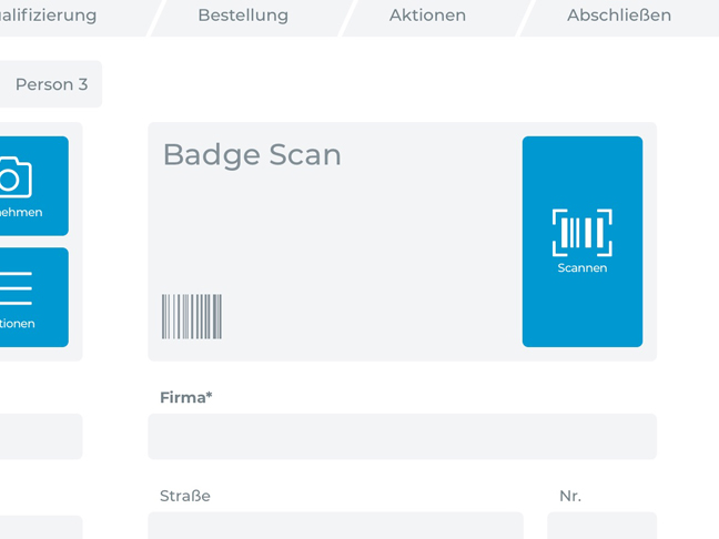 Screenshot App Messe-Badge erfassen