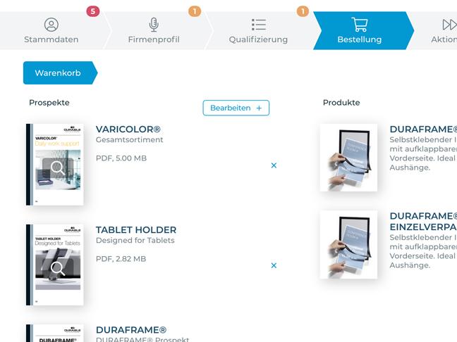 Screenshot App Funktion Warenkorb und Bestellung