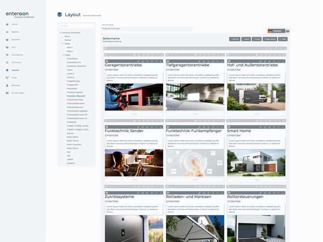 Screenshot entergon-Suite Layout gestalten
