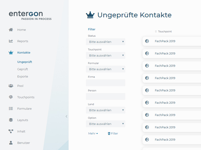 Screenshot entergon-Suite Kontakte und Leads prüfen